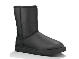 Мужские UGG Classic Leather Short Metallic Black-67